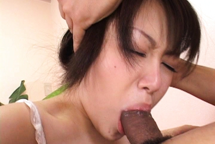 Asian chick playing with huge cock and sucking it