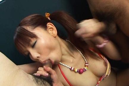 Himena Ebihara lovely Asian babe gives a hot double blowjob