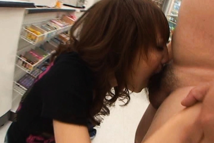 Mitsu Anno Naughty Asian doll gives a deep and sensual blowjob while shopping