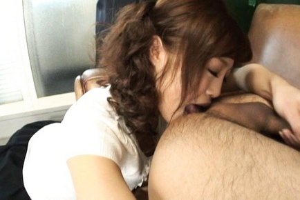 Ami Nagasaku sexy Japanese doll slurps up hard cock