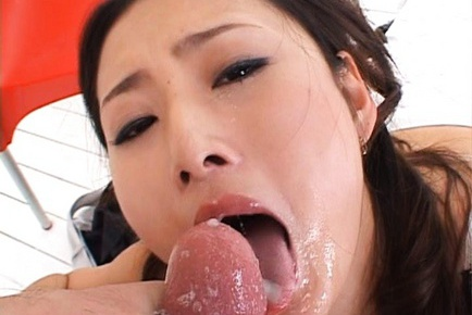 Risa Asian model gives a sensual blowjob to her horny guy