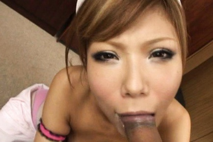 Asian nurse gives amazing double blowjobs