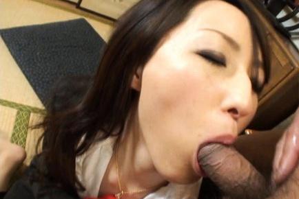 Anno Kiriya Asian model sucks cock and swallows balls