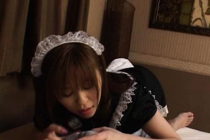 Cute maid Yui Asahin sucks cock and slurps lots of cum!