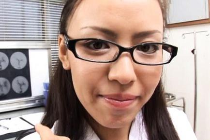 Nurse Shinobu Todaka makes a hot blowjob to her patient.