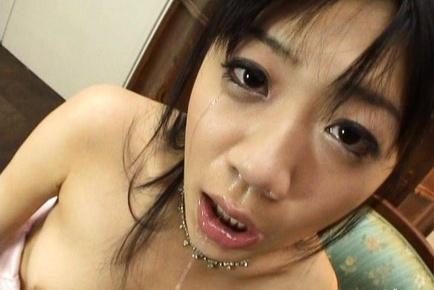 Saya Misaki Asian doll gives sensual double blowjob
