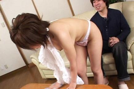 MILF Maid Rio Kurusu Sucks His Cock And Swallows