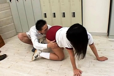 Asian school girl down on her knees and gives head