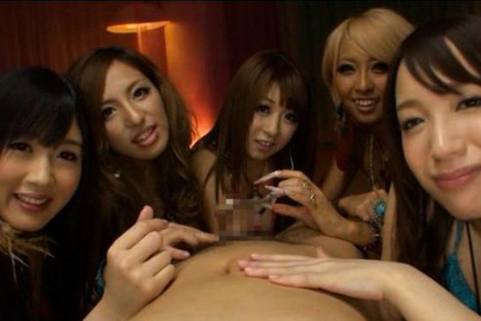 Five Japanese chicks team up for naughty cock sucking