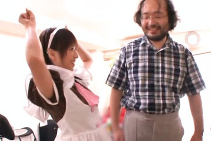 Teen maid Rika Hoshimi shows off her blowjob talent