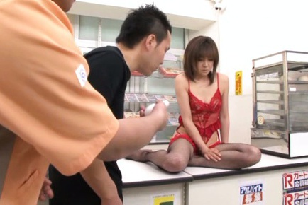 Ai Komori takes off red lingerie during sex