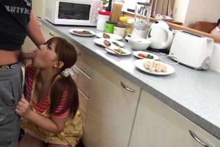 Pigtailed Japanese milf deepthroats her horny husband