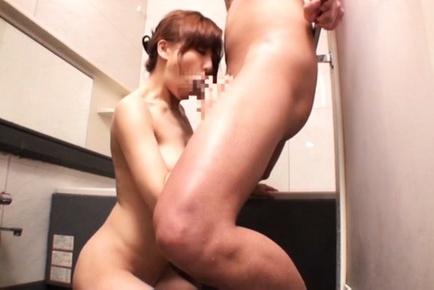 Attrative milf Ryouka Yuzuki deepthroats hubby in a shower