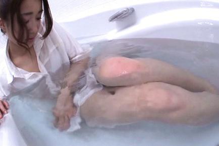 Cum on face of sexy Japanese AV model Raina