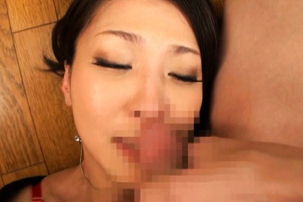 Gorgeous Japanese model having her mouth filled with cock