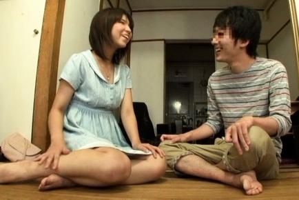 Asian amateur Koharu Aoi blowing a large cock in POV