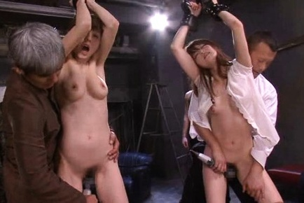Two sexy chicks get tied up and fucked hard by horny nasty dudes