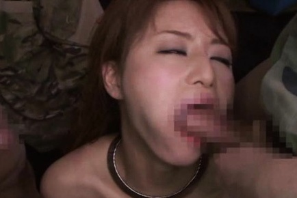 Pretty Japanese redhead woman gets her mouth fucked gets cum on face