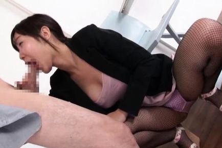 Horny Asian babe in stockings, Azumi Chino gives a hot blowjob